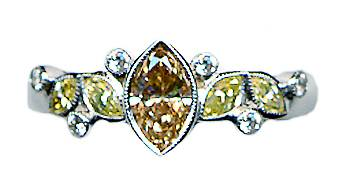 Marquise coloured diamond ring